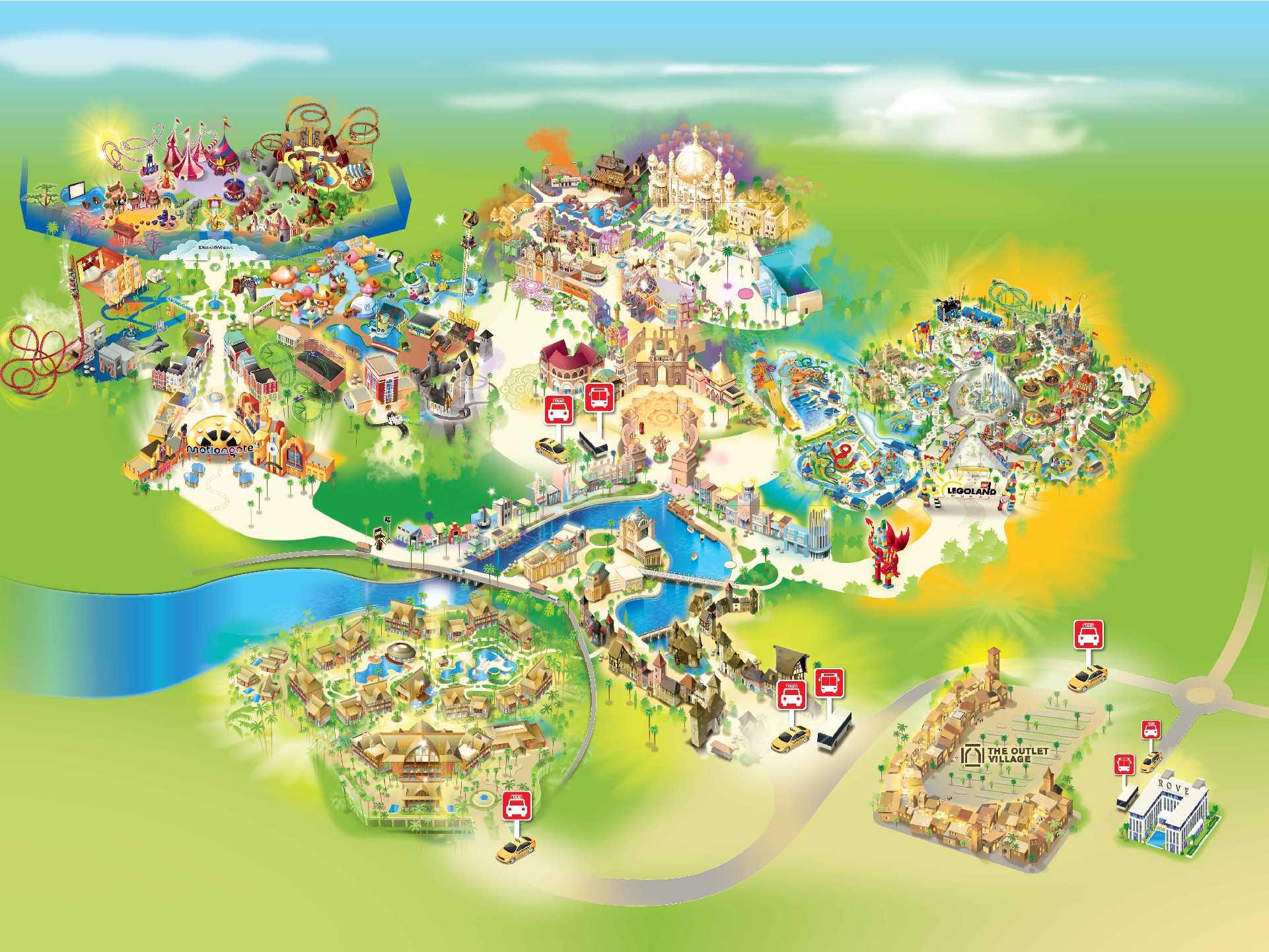 Dubai Parks and Resorts Map