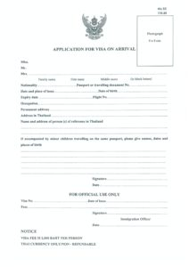 Thailand Visa on Arrival Form 2018